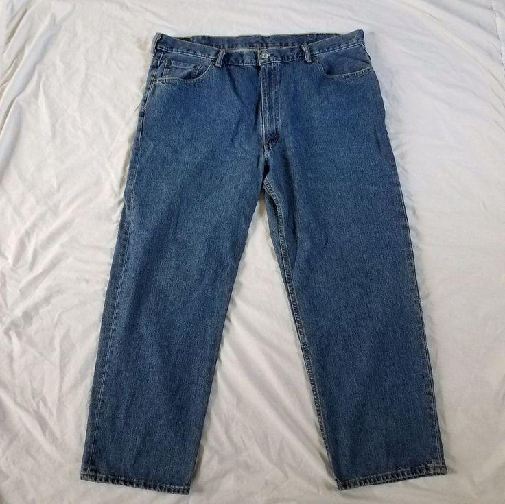 Levis 550 Jeans 44 x 30 Regular Blue Mens Denim Red Tab Pants Cotton Button Zip #Levis #ClassicStraightLeg