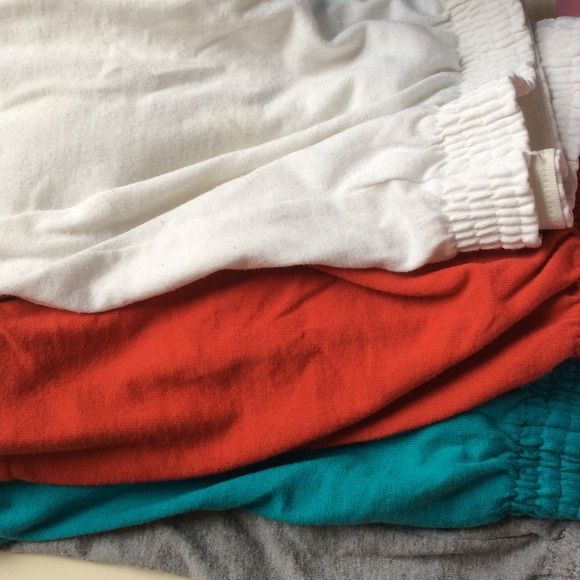 Soffee shorts 4 pairs Soffee shorts 4 shorts. Colors: white, red, teal and gray. COMFY Soffe Shorts