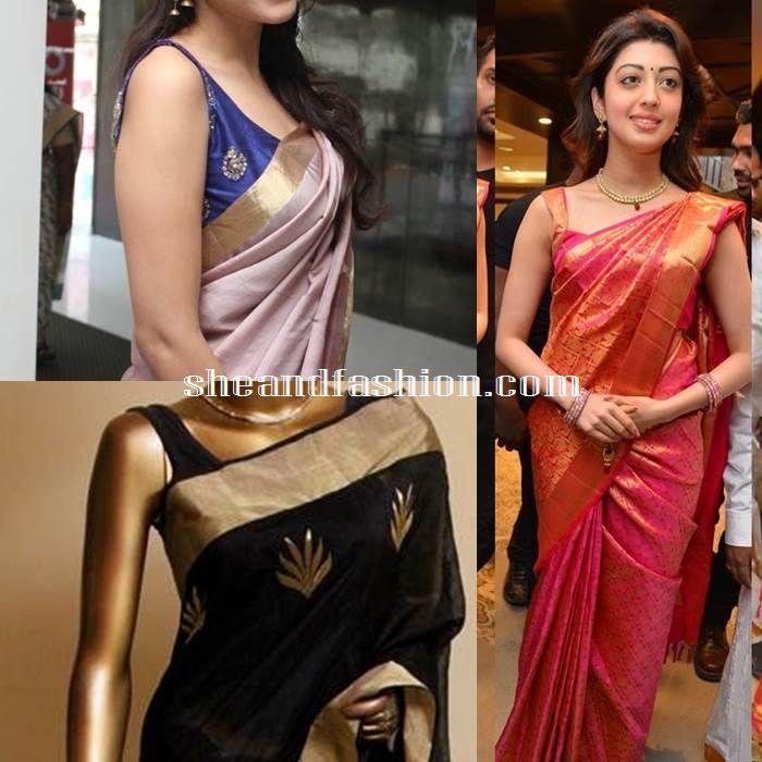 68ad7ca928aa4 Silk Saree blouse design sleeveless