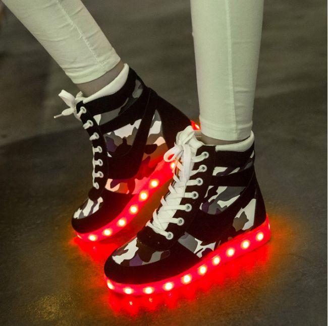 Zwart Hoge Camouflage Lichtgevende Schoenen Dames