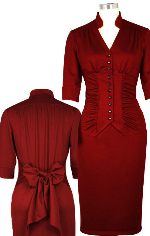 1940s Inspired  Gathered Pencil Dress Chic Star Design by Amber Middaugh