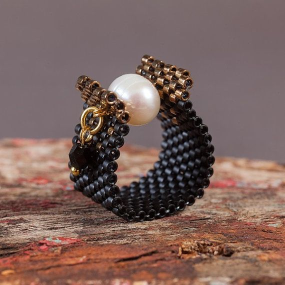 Black and Pearl Beaded Ring Peyote Pearl Ring Handmade Beaded