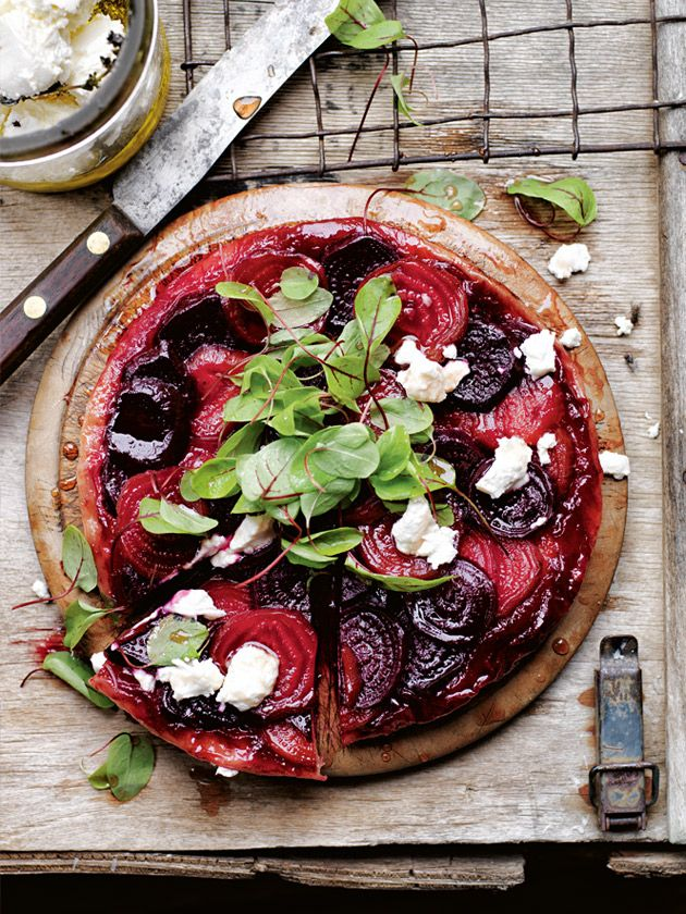 goat's cheese and beetroot tarte tatin from donna hay