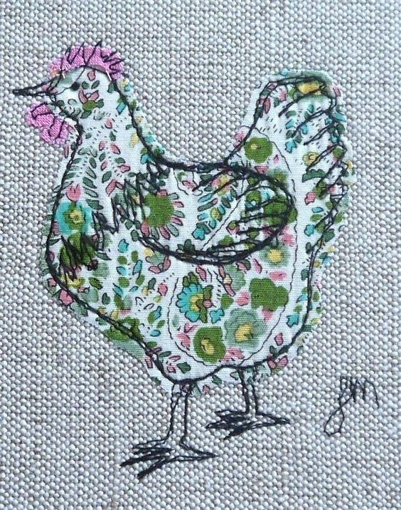 Green chicken - framed freestyle machine embroidery
