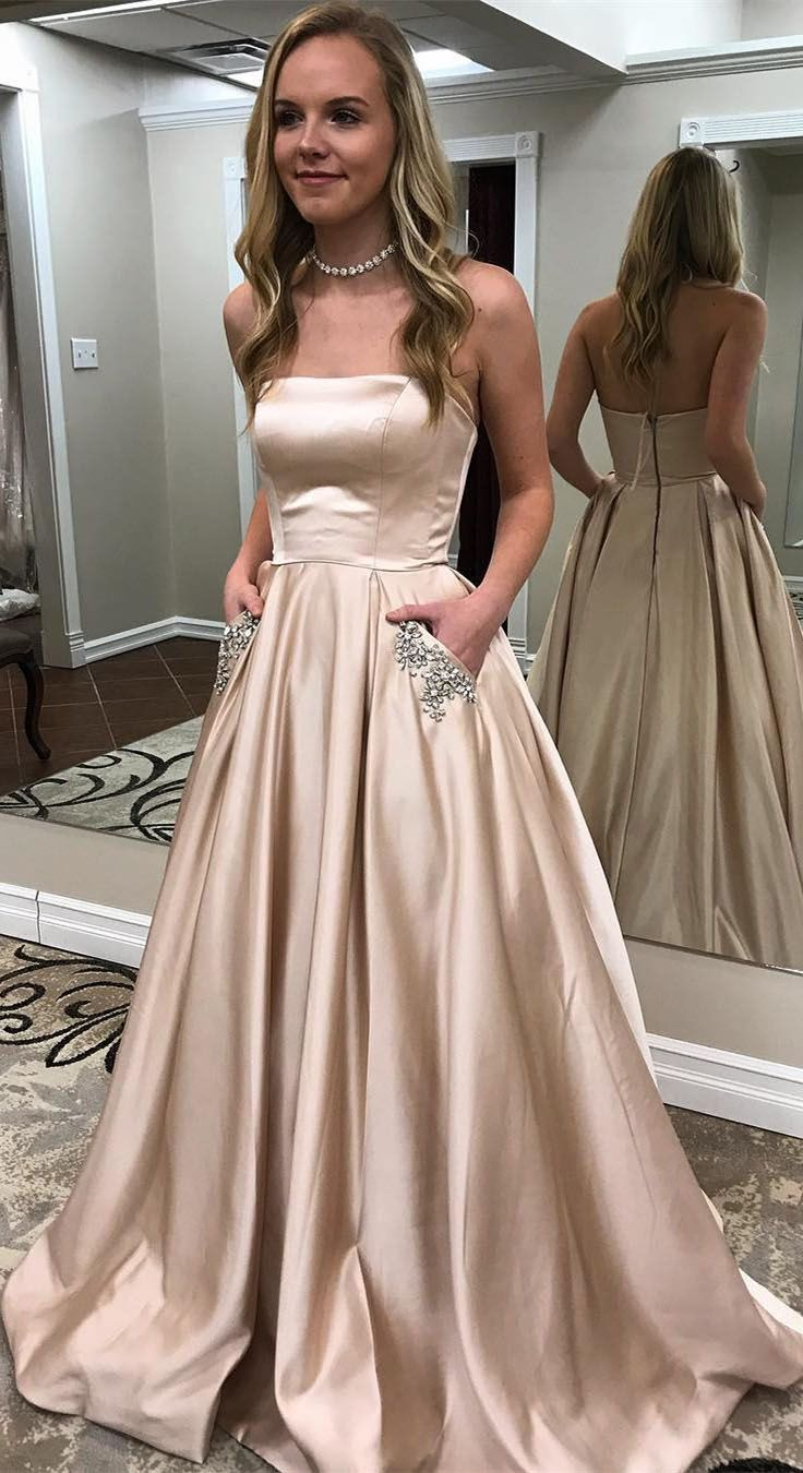 A Line Strapless Simple Long Cheap Red Prom Dresses With Pocket Apd3026 Prom Dresses With Pockets Strapless Prom Dresses Champagne Evening Dress [ 1350 x 736 Pixel ]