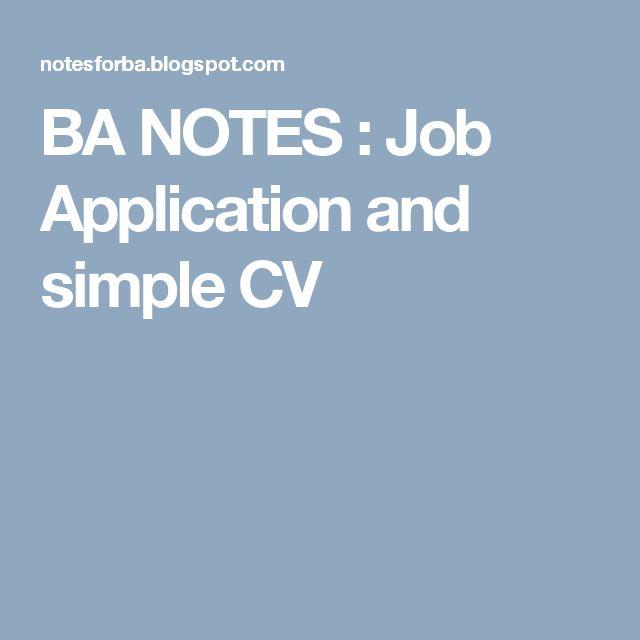 BA NOTES : Job Application and simple CV