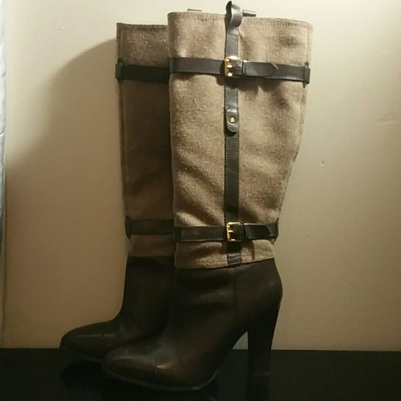 """Tommy Hilfiger-Mixed media boots These adorable dark brown leather and taupe wool like textile riding boots add a touch of class to your every day attire. These boots are well made and of fine fabrics inside and out. These boots look great with jeans skinny dress pants or skirts. In excellent condition only worn one time...the 4"""" heel is too high for me. There are slight marks on the top of the toes and on the inside of the one heel which are barely noticable..see pics. Tommy Hilfiger Shoes…"""