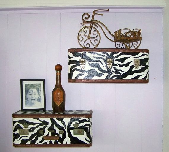 Vintage Luggage Suitcase Shelves in Zebra Print and by HeatherMBC, $110.00Zebras Stripes, 85 00, Suitcases Shelves, Suitcas Shelves, Vintage Luggage Sweets, Luggage Suitcases, Zebras Prints, Corner Shelves, Luggage Sweets Stuff