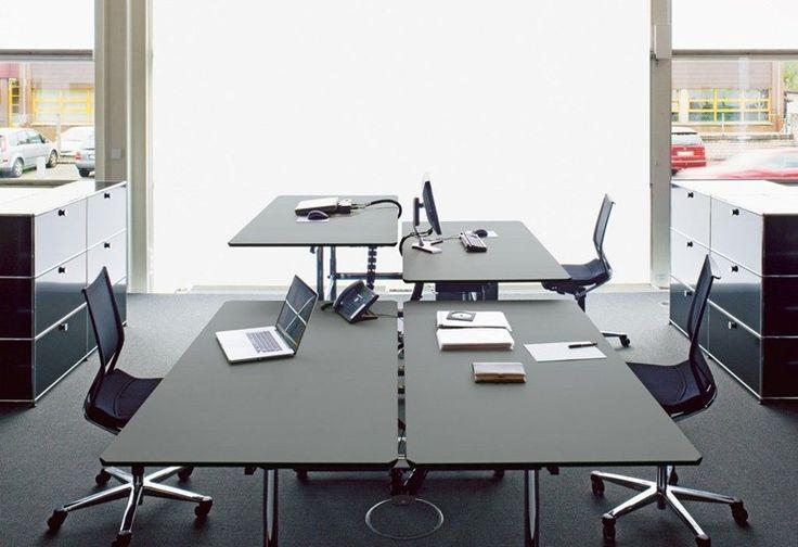 Bureau opérationnel réglable en hauteur de style contemporain USM Kitos Table Collection USM Kitos Table by USM Modular Furniture