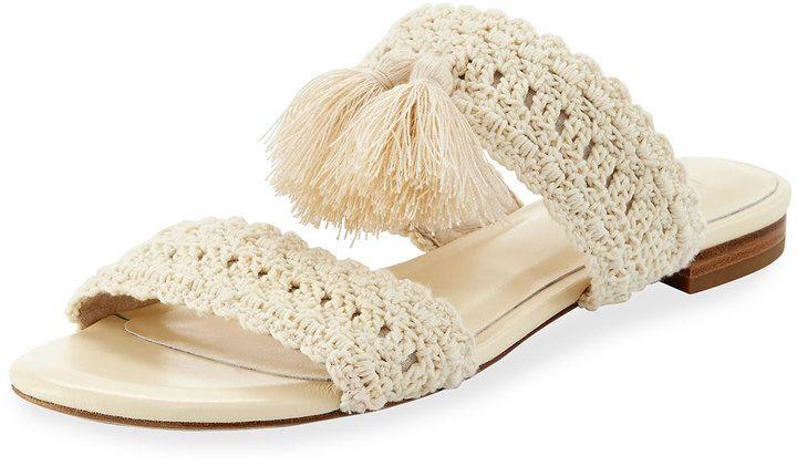 Joie Faina Crochet Flat City Slide Sandal, White