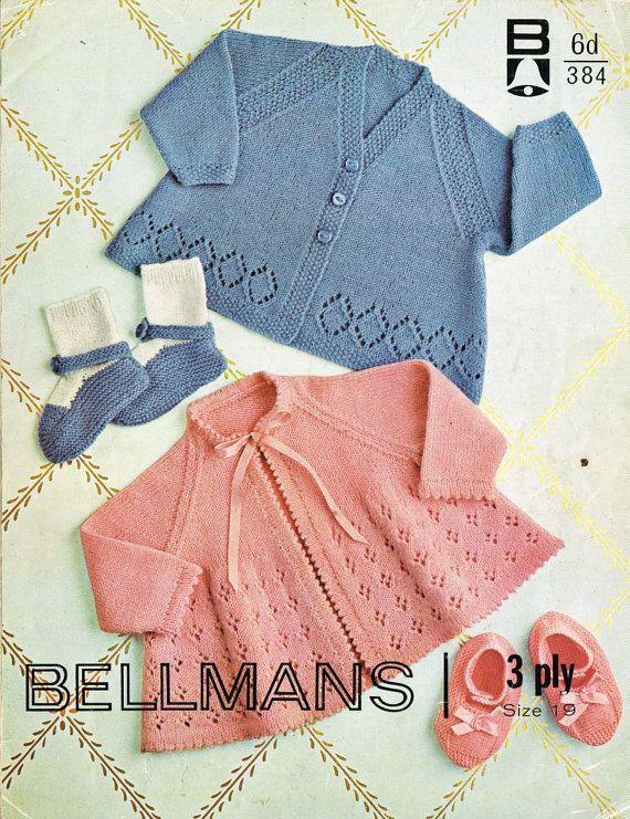 Bellmans 384 baby matinee coats  vintage knitting pattern PDF