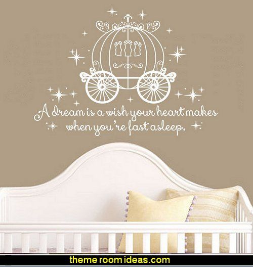 Cinderella Quote - A dream is a wish your heart makes Wall Decal with Princess Carriage for Girls Nursery Baby Gift Kids Decal
