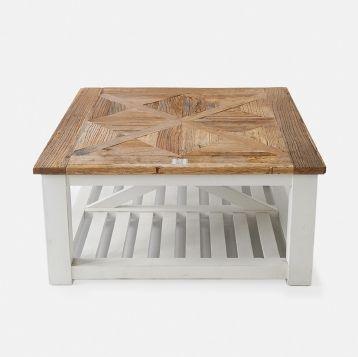 246450 Chateau Chassigny coffee table90x90 Vakert salongbord av resirkulert tre. Bordene i Chateau Chassigny kolleksjonen er helt spesielle. Bordplaten er inspirert av vakkert gulv i gamle slott. Underdelen er  av hvitmalt treverk.  Bordet er også tilgjengelig i andre størrelser og varianter. I denne serien kan man få både salongbord,sidebord og spisebord.