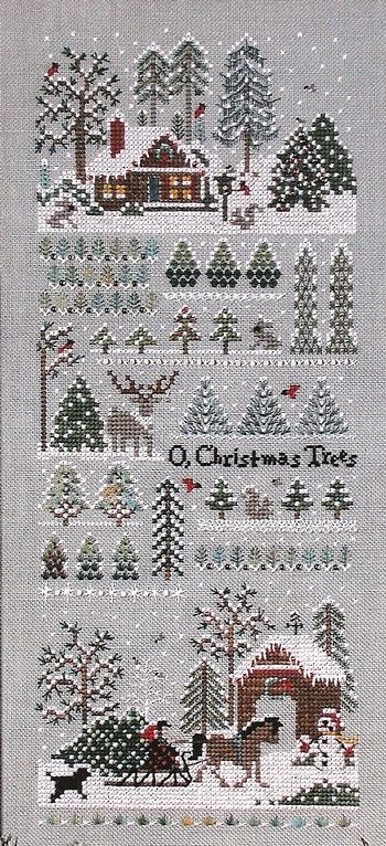 Winter cross stitch sampler
