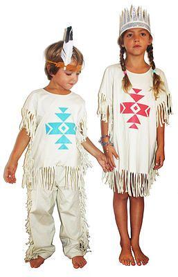 Déguisement garçon et fille Ratatam- Indien ou Indienne (tailles : 2 ans, 4 ans, 6 ans et 8 ans).