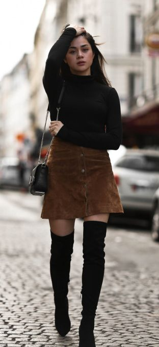 Thigh high boots + suede button front skirt + Monja Wormser + simple turtleneck  Turtleneck: H&M, Skirt: Only, Boots: Public Desire, Bag: Charles & Keith.