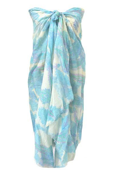 Spun by Subtle Luxury Athena Sarong Wrap in Aqua