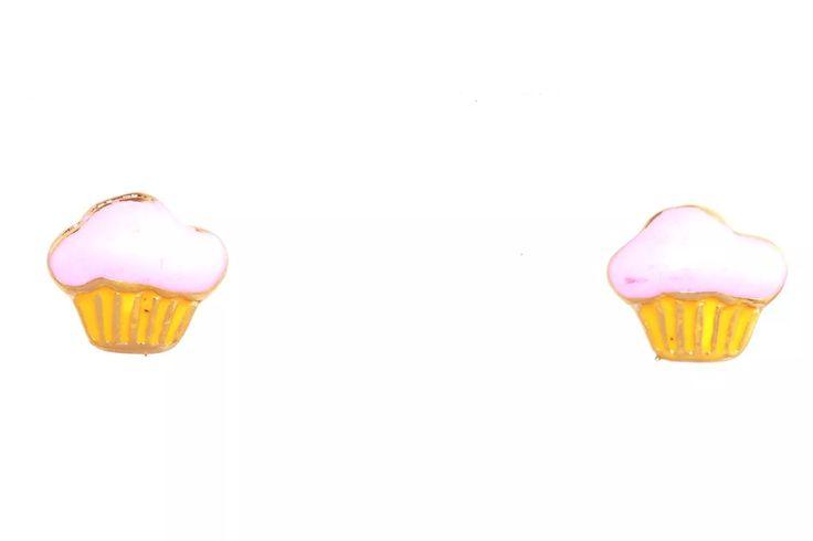 brinco cup cake infantil folheado a ouro 18k - 07908