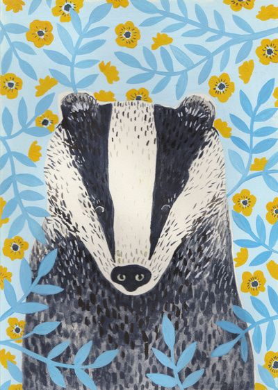 British Badger Art Print