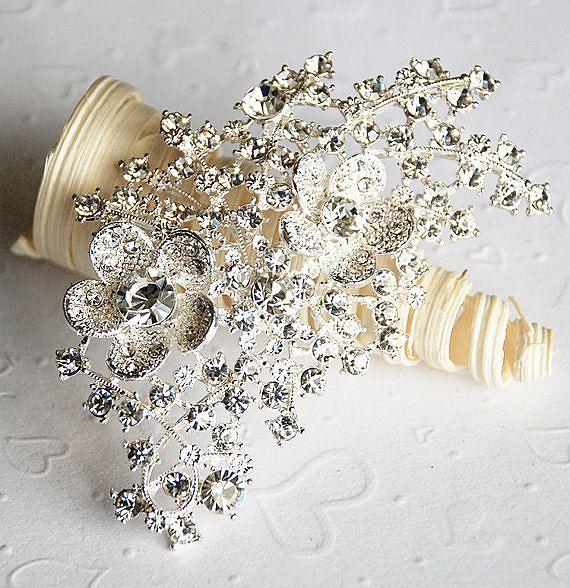 Strass Brosche Verzierung Perlen Crystal Flower Kamm Diadem Schuh Haarspange Hochzeit Bouquet Brosche Kuchen Dekoration BR058