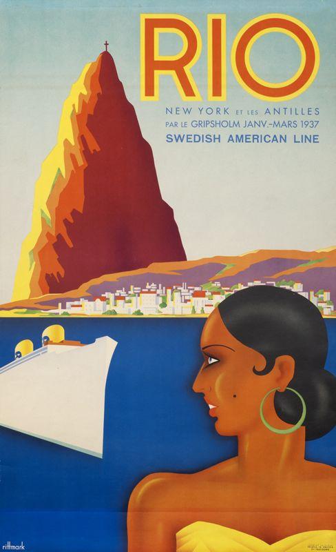 Ake Rittmark Poster: Rio - Swedish American Line
