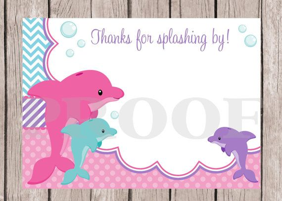PRINTABLE Dolphin Birthday Party Thank You Card, might be a good idea, since open gifts later, at home!