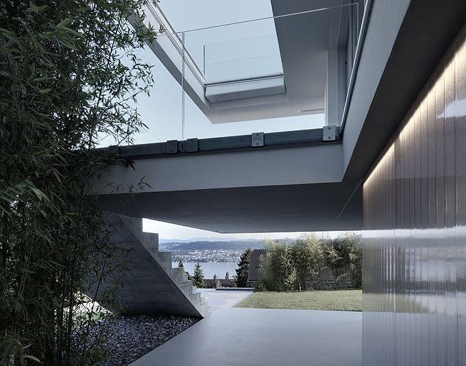 Feldbalz House: Contemporary Glass Home with Brilliant Views of Lake Zurich. Designed by Gus Wüstemann