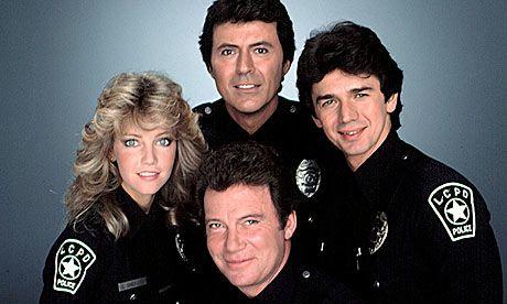 T.J. Hooker - (1982-85). Starring:   William Shatner, Heather Locklear, Adrian Zmed, Richard Herd, Hal Williams and James Darren.
