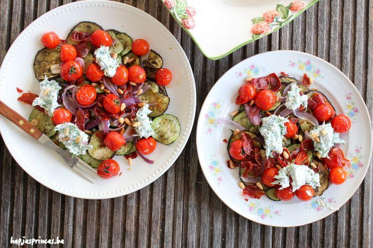 Geroosterde groenten, knapperige pancetta met kruidenricotta