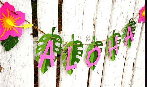 ALOHA Luau Party Banner, ibisco rosa verde, pronti da appendere - festa hawaiana