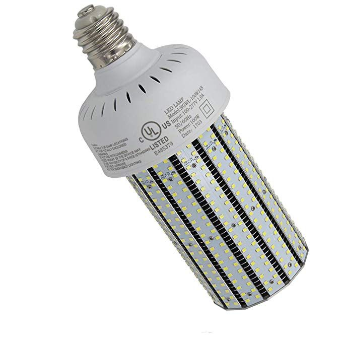 Nuoguan 100w E39 Mogul Led Corn Cob Bulb 135lm W Retrofit 400 Watt Metal Halide Hid Warehouse Parking Lot Light Parking Lot Lighting Outdoor Post Lights 5000k