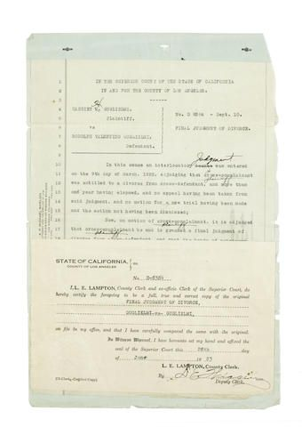 A certified copy of Rudolph Valentino and Jean Acker's divorce papers