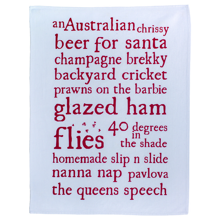 An Australian Chrissy tea towel. Celebrating our unique Christmas traditions. By My Wooden Heart at Hard to Find.