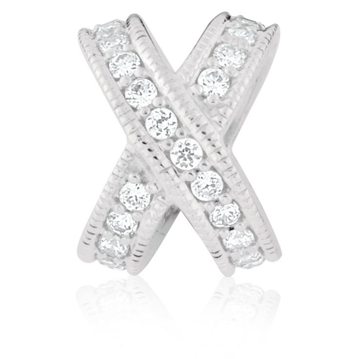 White Cubic Zirconia & Sterling Silver Charm