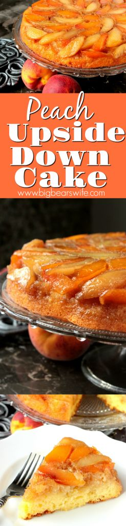 Are you a fan of pineapple upside down cake? If so, I know you're going to be peachy keen over this homemade Peach Upside Down Cake topped with brown sugar, melted butter and fresh peaches!