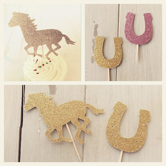 Glitter Horse Equestrian Cupcake Topper, Pony Cowgirl, Kentucky Derby Party Decorations, Mix of 12 Horse and Horseshoe Party Picks