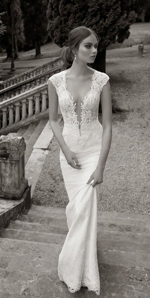 lace bridal gown with v-neck and cap sleeve #bride #love #wedding