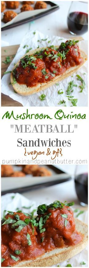 Mushroom Quinoa Meatball Sandwiches {vegan, gf option} // pumpkin & peanut butter