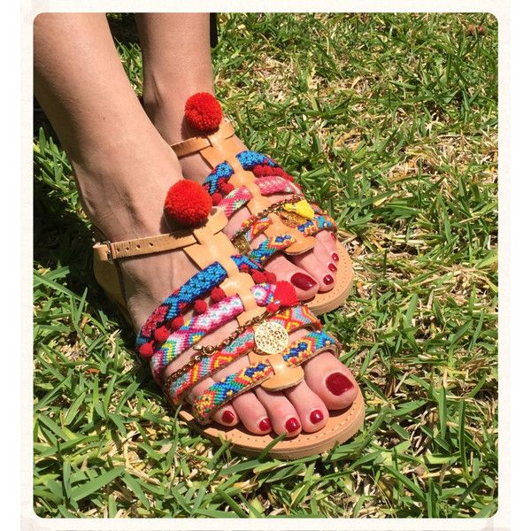 FREE SHIPPING Pom Pom Sandals''Diana'' by BohemianFootprints (€136) found on Polyvore