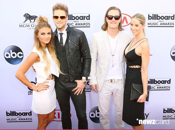 (L-R) Hayley Stommel , musicians Tyler Hubbard and Brian Kelley of Florida Georgia Line and Brittney Marie Cole Kelley arrived for The 2015 Billboard Music Awards on May 17, 2015 in Las Vegas, Nevada.
