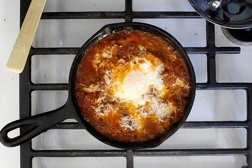 Eggs in purgatory - eggs, tomatoes, capers, anchovies, purple olives ...