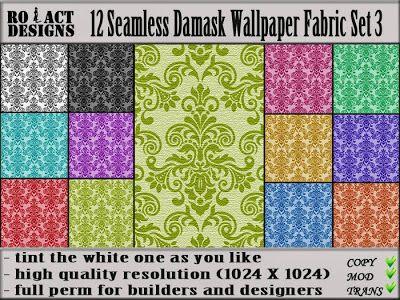 Ro!Act Designs 12 Damask Wallpaper Fabric Set 3