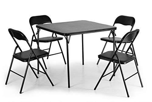 Lucidz Table & Chair Sets, Black Folding Card Table & 4 ...