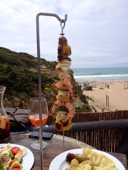One of the more popular dishes to order at Bar do Guincho is their grilled squid & shrimp platter, which is served on a skewer and is accompanied by two cuts of corn & shallots.  Not to be missed, combining a healthy option and the delights of Portuguese fishing!  (Note the champagne sangria in the back, equally refreshing!)