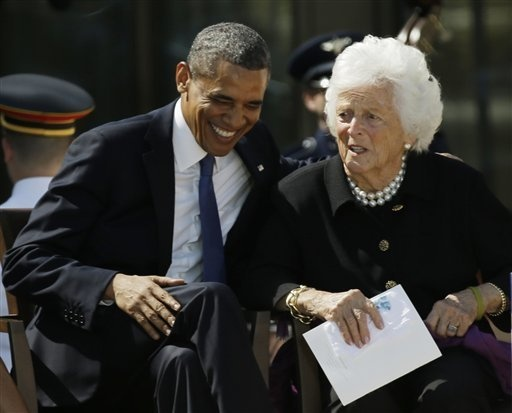 Bush Library President Obama and First Lady Barbara Bush. I love pictures of people being happy.