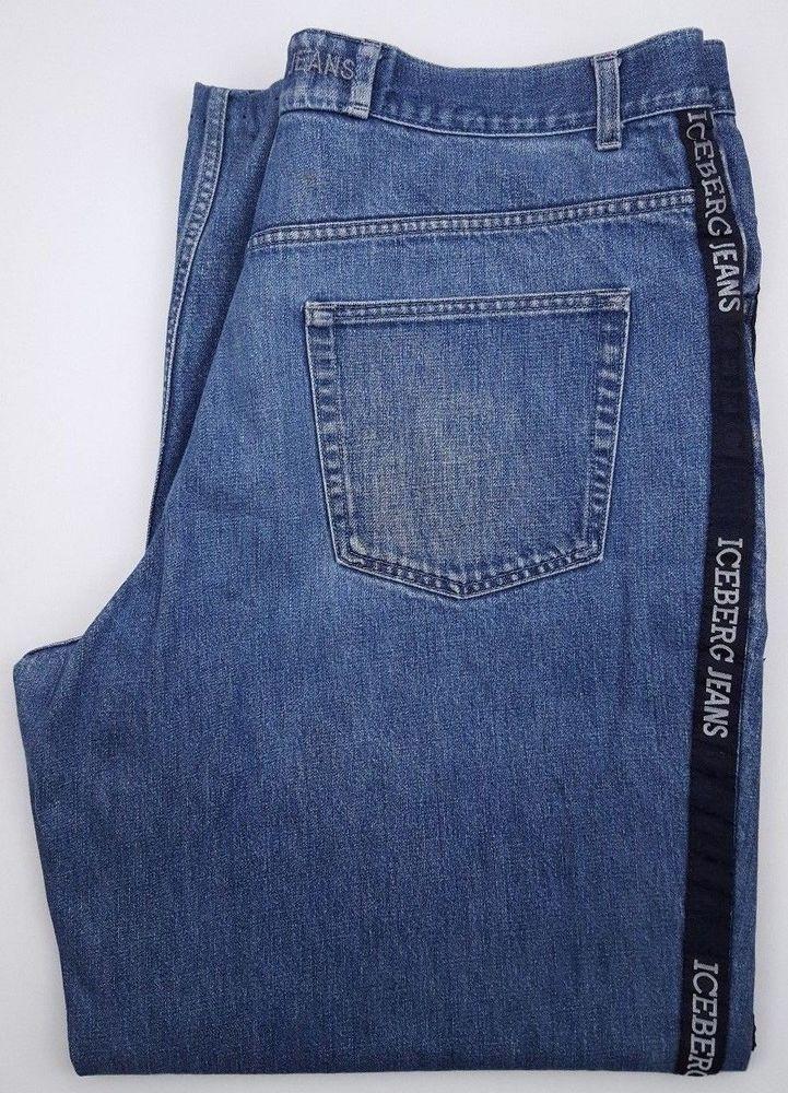 Iceberg Jeans 40x33 Blue Denim Jean Mens Size Gilmar Cotton Italy Vintage Baggy  #Iceberg #BaggyLoose