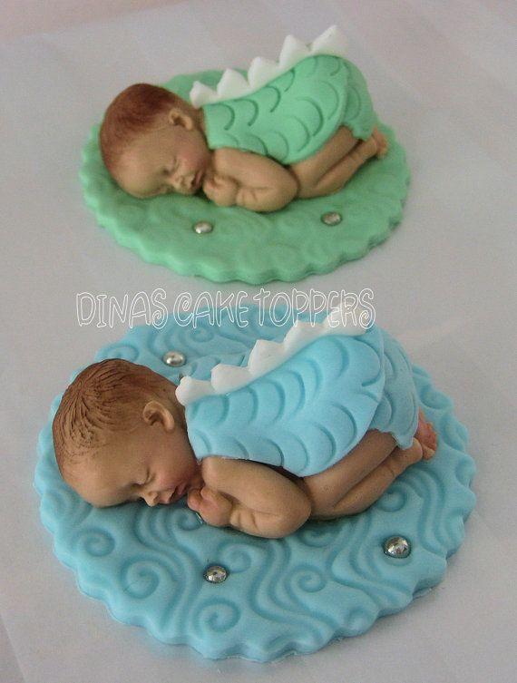 Twin Babies Dragon  Fondant Gum Paste Cake Topper