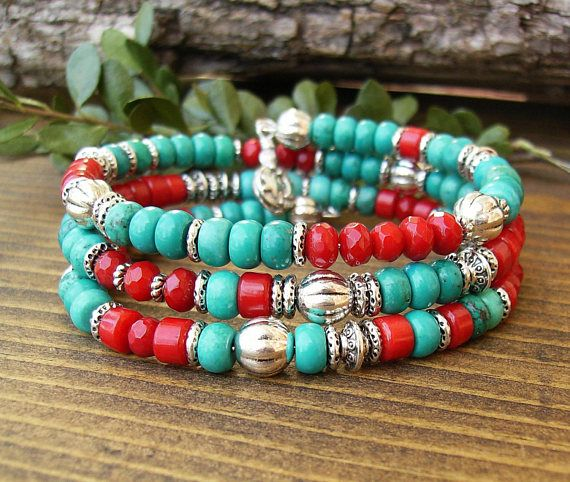 Turquoise and Red Coral Bracelet Southwestern Multi Strand