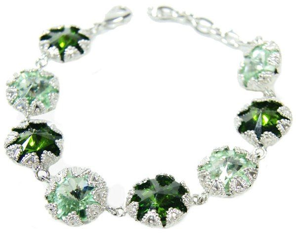 Filigree Setting bracelet embedded with green crystals MONNALUNA FASHION
