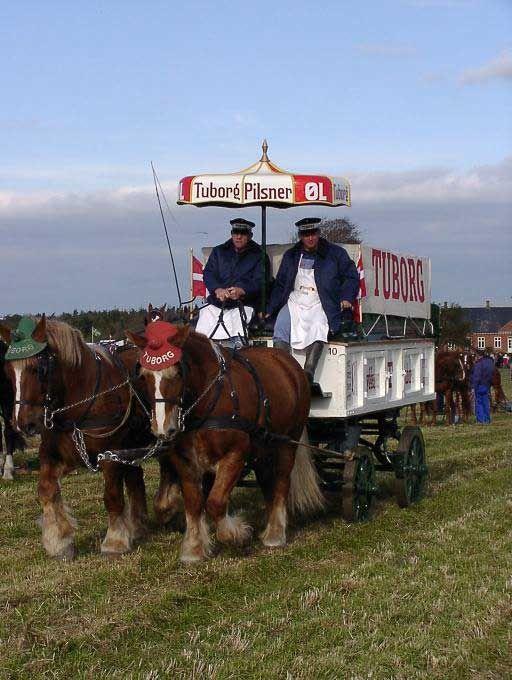 """Tuborgfonden støttede stævnet økonomisk, og var til stede med en gammeldags distributionsvogn. DM og NM i hestepløjning afholdt d. 18. oktober 2003 i Nørbæk. { } disse paranteser hedder i daglig tale """"en TUBORG"""" eller """"en TUBORG parantes"""". Tuborg er et dansk ølmærke, der første gang blev brygget i Hellerup 1875."""